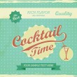 Vintage Design - cocktail time background. Vector retro typography — Grafika wektorowa