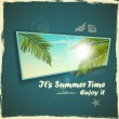 Vector summer design. Palm leaves against the sun and blue sky with clouds — Imagens vectoriais em stock