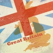 Great Britain map on flag background — Stock Vector