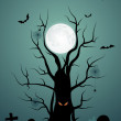 Halloween background with ominous tree in the cemetery — Vecteur
