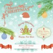 Christmas and New Year symbols greeting cards — 图库矢量图片