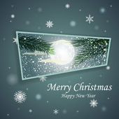 Vector Winter Christmas design. Spruce branches on the background of the moon — Stock vektor