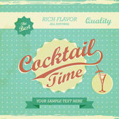 Vintage Design - cocktail time background. Vector retro typography — Stock Vector