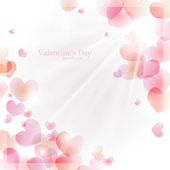 Vector background for Valentine's Day with hearts and sun — Stock Vector