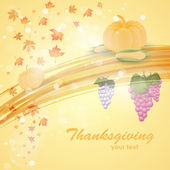 Thanksgiving vector pumpkin, corn, grapes and leaves in bright light yellow background — Stock Vector