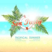 Fundo de verão com praias ensolaradas e águas azuis tropicais. — Vetor de Stock