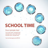 School time background. Glass technological button icons with school supplies. — Stock Vector