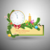 Merry Christmas and Happy New Year. Vector label with clock and symbols of Christmas — Stock Vector