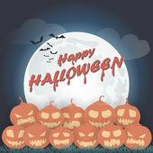 Halloween pompoenen op een achtergrond van de maan. — Stockvector
