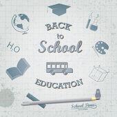 Powrót do szkoły - pojęcie na temat edukacji. — Wektor stockowy