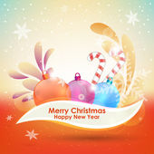 Celebratory bright background with Christmas balls. — Vector de stock