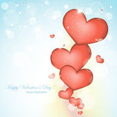 Red hearts valentines day background — Stock Vector