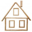 Wooden house of bricks — Stock Photo