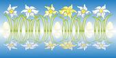 ミラーと水仙の花棚 — ストック写真