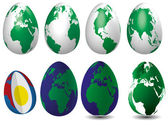 Globuse eight eggs, filled with ocean and instructive. — Stock Photo