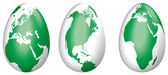 Three Easter eggs Globes, with land masses. — Stock Photo