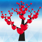 Tree with hearts with blue background — Stock Vector