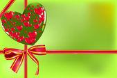 Geschenkkarte mit Schleife und Herz — Stockvektor