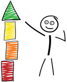 Stick figures with building block tower — Stock Vector