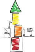 Stick figure build tower — Stock Vector