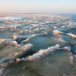 Slushy ice in spring on Ladoga Lake, Russia — Stock Photo
