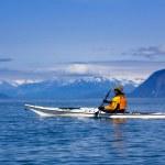 Женский Байдарочник, детский в национальном парке ледник Бэй, Аляска — Стоковое фото