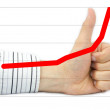 Thumb up with raising graph — Stock Photo