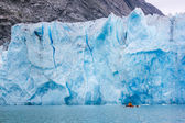 Sea kayaker near the face of the glacier, glacier bay national P — Foto de Stock