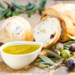 Ciabatta bread with olive oil. — Stockfoto