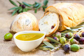 Ciabatta bread with olive oil. — Stock Photo