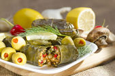 Grape leaves stuffed with rice. — Stock Photo