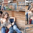 Foto Stock: Sexy couple wearing jeans and boots posing dramatic collage