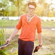 Attractive young male model posing outdoors — Stock Photo #21437777
