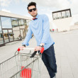 Stock Photo: Attractive young male fashion model dressed casual - outdoor
