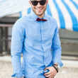 Stock Photo: Handsome young male fashion model dressed casual - outdoor
