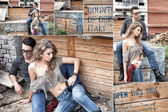 Sexy couple wearing jeans and boots posing dramatic collage — Stok fotoğraf