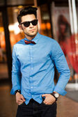 Attractive young male fashion model dressed casual - outdoor — Stock Photo