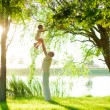 Stock Photo: Dad and daughter in nature