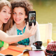 Stock Photo: Two beautiful women girls photographing themselves with smart-