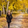 Stock Photo: Beautiful young womin park autumn vibrant colors copy space