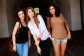 Three beautiful women smiling — Stock Photo