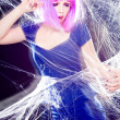 Sexy woman with purple wig and intense make-up trapped in a spider web screaming- fashion shoot — Stock Photo #21453379