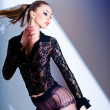 Sexy model dressed in lace blouse and elegant tights posing - fashion shoot — Stock Photo