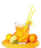 Big Glass of orange and lemon juice isolated on white — Stock Photo
