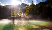 Hi res panorama of flooding in nature — Stock Photo