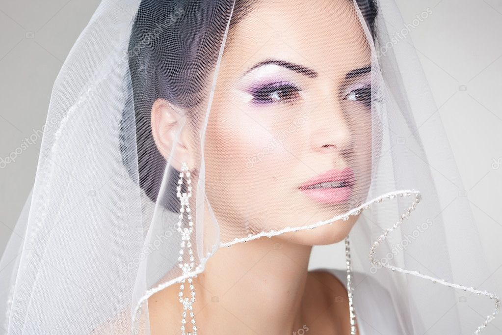 On the bride face is