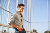 Portrait of attractive man dressed casual, looking cool and verry apealing — Stock Photo