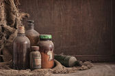 Old dusty bottles still life — Stock Photo