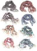 Set of scarves isolated on white — Stock Photo