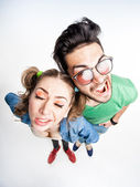 Funny couple arguing - view from above wide angle shot — Stock Photo